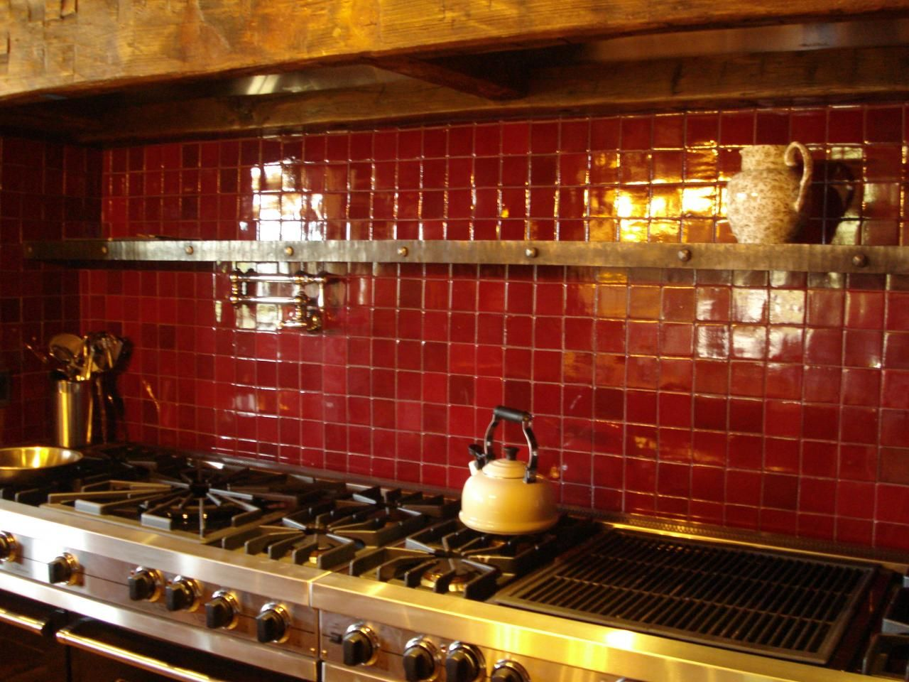 Red kitchen backsplash idea | Craft Kitchen and Bath